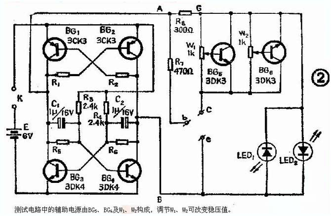 第一步,自然先是模仿了,以上三种电路会都作出个样品来,实际比较一下使用效果,再决定取舍和改进。 首先看看二极管的测试功能 先试了第三款电路的二极管测试部分: 用NE555在洞洞板上搭了二极管测试部分,实际使用效果还不错,该电路可以测试整流二极管、稳压二极管、发光二极管,在电源电压是9V时,对于6V的稳压管测试时,因为被击穿了,所以显示的是一个LED正常闪亮,另一个微弱闪亮,这是应该注意的地方。 实际制作时,C4分别用了0.