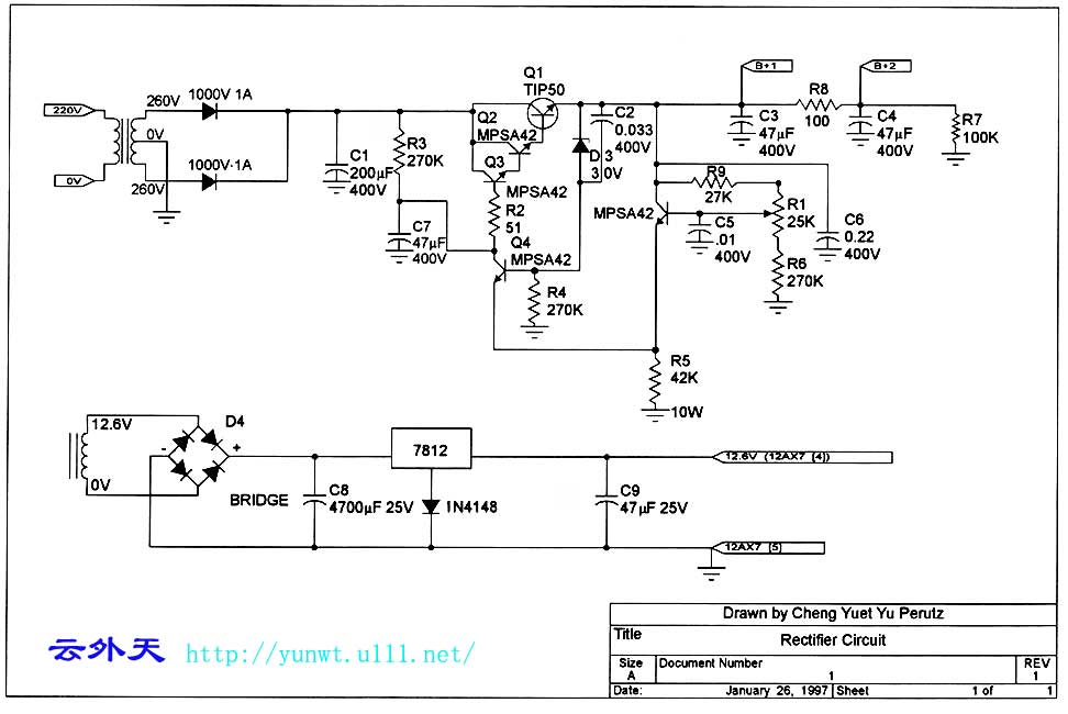 零件如下: 电阻:RMG(1%)1/2W或1W,东京光音 电容:Elna滤波,Kimber,Wima交连,Wima旁路 音量掣:东京光音 输出变压器:LP(260V-O-260V,15V12.6V6.3V一0,6.3V一0) 选择掣:Alps选择掣和5个继电器组成 电源线:Teflon镀银20AWG,18AWG 信号线:Teflon镀银线 这个前级线路是来自JadisJP-80,因Jadis的声音太通透,所以笔者选择这个线路。 这个前级的左右声道各用两只12AX7组成,从线路图可见由3个三极管组成一个声