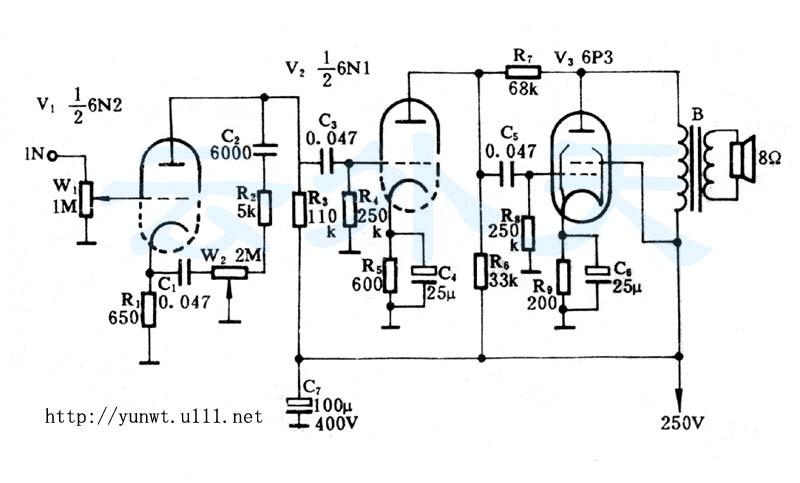 6n2组成了第一级电压放大.在此级中,c1,c2,r2,w2组成了音调电路.