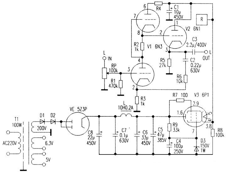 前级由v1组成srpp电路,由v2作阴极输出器,输入级与输出级采用直耦合
