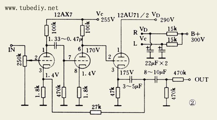 向大家介绍最后一个电路,就是马兰士1,也是本人最好声和最麻烦的前级。开工之前,首先对照实物查看(因为原装线路图是影印的,到手时已经看不清楚),要查看电容,电阻色环,对准数值,而且元件排位及插胆的位置也要搞清楚。希望做到好似原装l仔一样。材料方面要尽量用1仔所用的料,电阻全部用A&B,不过1仔有几支是用线阻,例如屏极和阴极电阻,可能是容易变值和准确性比较高(大家可在照片看到)。电容比较麻烦,因为电解电容不好买,唯有拆旧机,但是好多都漏电,很辛苦先拆了一些是漏电的,有几支漏得不厉害的,可以用在音调控制