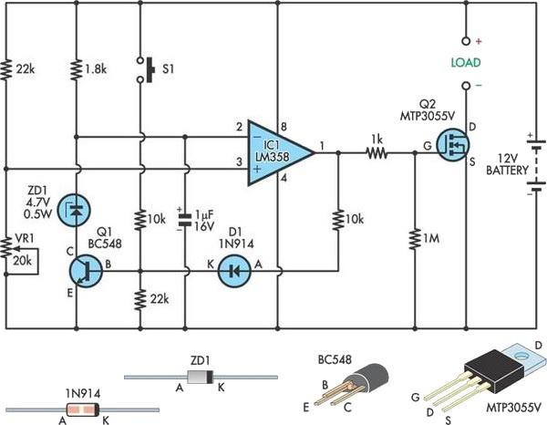 当电池电压低于设定值时,电路会自动断开,以避免铅酸电池过放电。电池的电压通过22k电阻和20k的 可调电阻分压后输入IC1的(引脚3),与反相输入端(引脚2)参考电压相比较。当采样电池电压低于参考电压时,IC1的输出(引脚1)低电平,使MOSFET截止,断开电池与负载的连接。 该参考电压是基于一个4.