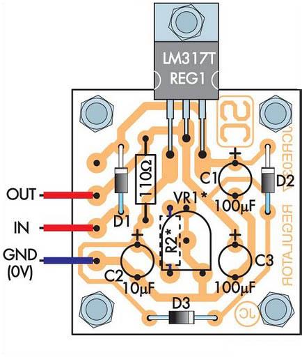 lm317制作的1.3v至22v可调稳压; adjustable 1.